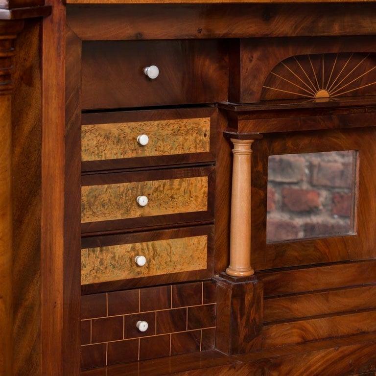 Antique German Mahogany Biedermeier Secretary Desk For Sale 3
