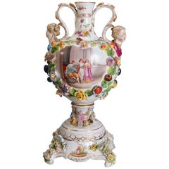 Antique German Meissen Floral and Figural Porcelain Urn & Pedestal, circa 1890