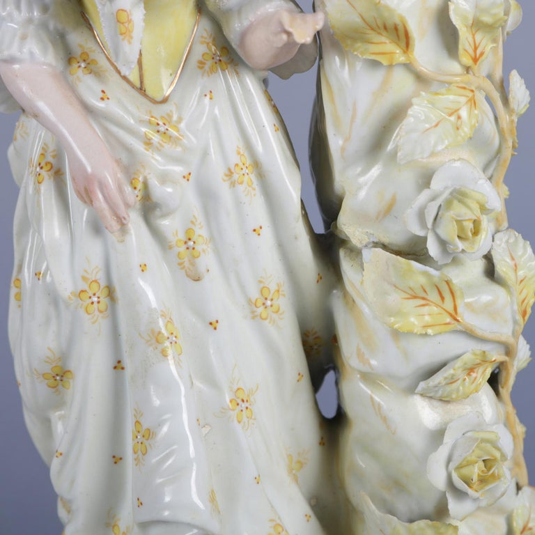 Antique German Meissen Hand Painted and Gilt Figural Porcelain Candlestick For Sale 7