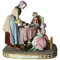 Antique German Meissen Porcelain Figural Grouping, Le Benedictine, 19th Century