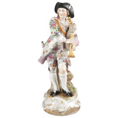 Antique German Meissen School Hand-Painted and Gilt Porcelain Bagpiper Figure