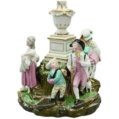 Antique German Meissen School Hand Painted Porcelain Figural Grouping circa 1880