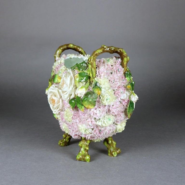 Antique German Meissen School Porcelain Candelabra and Vase Garniture Set For Sale 10