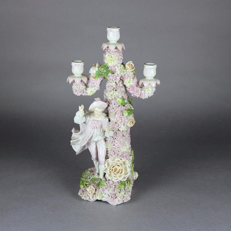 Antique German Meissen School Porcelain Candelabra and Vase Garniture Set For Sale 13