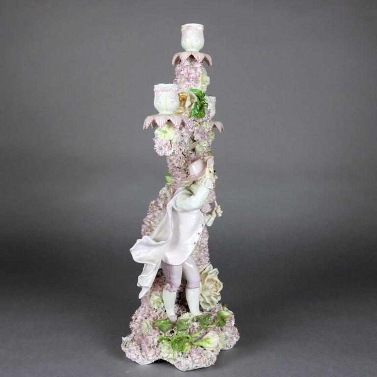 High Victorian Antique German Meissen School Porcelain Candelabra and Vase Garniture Set For Sale