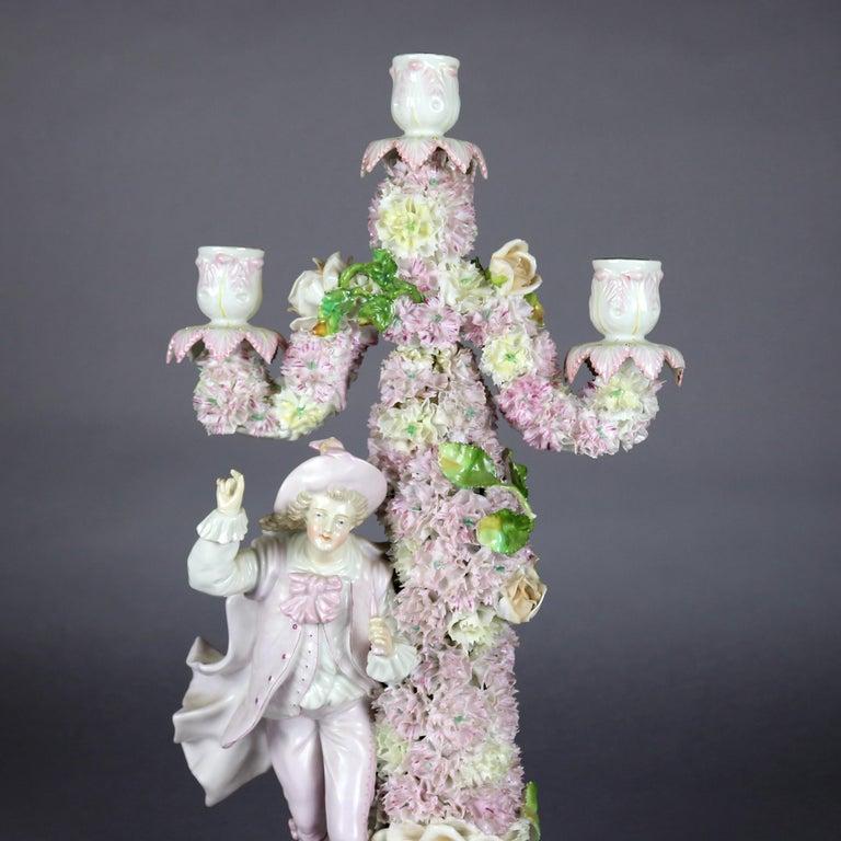 Antique German Meissen School Porcelain Candelabra and Vase Garniture Set In Good Condition For Sale In Big Flats, NY