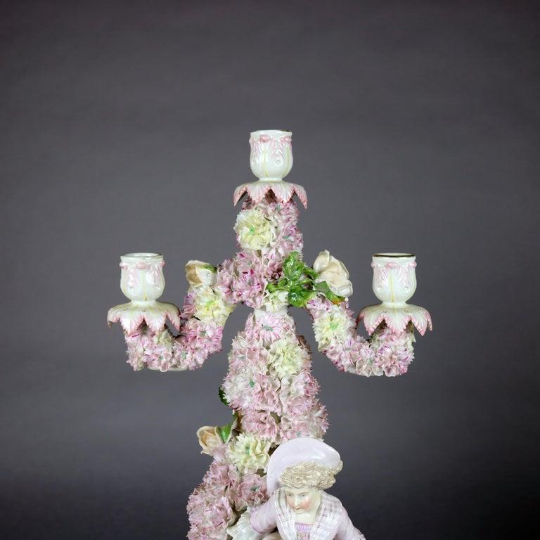 19th Century Antique German Meissen School Porcelain Candelabra and Vase Garniture Set For Sale