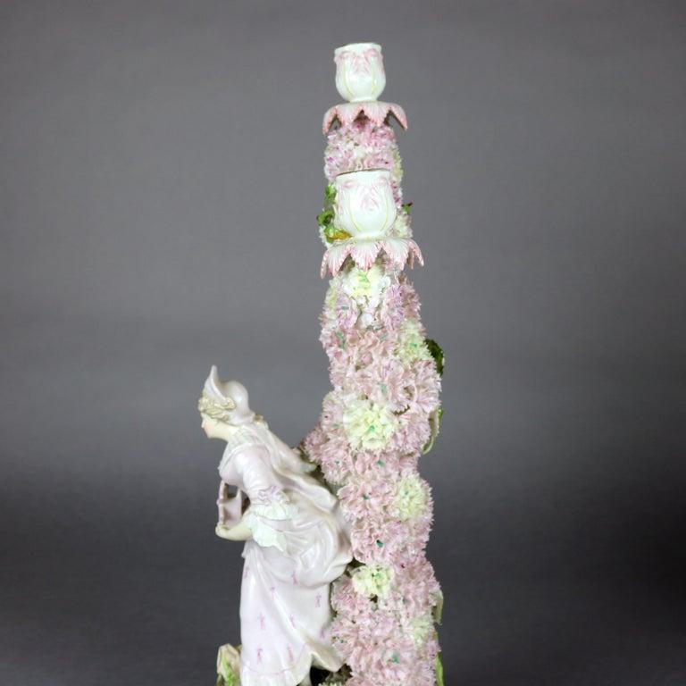 Antique German Meissen School Porcelain Candelabra and Vase Garniture Set For Sale 4