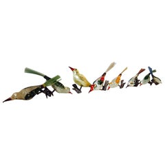 Antique German Mercury Glass Birds Christmas Tree Clip-On Ornaments, Set of Ten