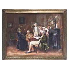 Antique German Miniature Painting of Four Noblemen in Baroque Interior