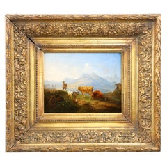 Antique German Mountain Landscape Oil Painting of Cattle and Sheep, 19th Century