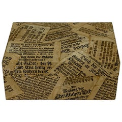 Antique German Newspaper Decoupage Table Box