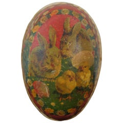 Antique German Paper Mâché Easter Egg Candy Container Rabbits Chicks Flowers