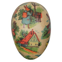 Antique German Paper Mâché Easter Egg Candy Container Traveling Story Rabbit
