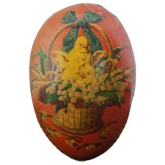 Antique German Papier Mâché Easter Egg Candy Container Chicken Flower Basket