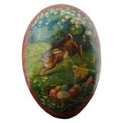 Antique German Papier Mâché Easter Egg Candy Container Leaping Rabbit Egg Nest