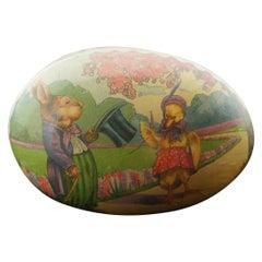 Antique German Papier Mâché Easter Egg Candy Container Mrs Duck & Mr Rabbit