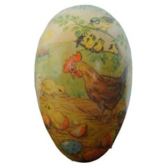 Antique German Papier Mâché Easter Egg Candy Container Rooster Chick Bird Farm