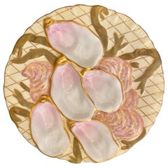 """Antique German Porcelain Ivory, Pink and Gold Netted """"Turkey"""" Oyster Plate"""