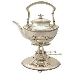 Antique German Queen Anne Style Silver Spirit Kettle, Circa 1910
