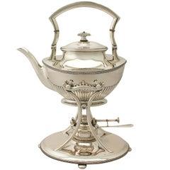 Antique German Queen Anne Style Silver Spirit Kettle