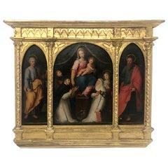 Antique German Religious Oil Painting on Panel in Original Gilt Frame Circa 1900