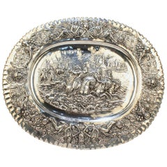 Antique German Renaissance Revival 800 Solid Silver Repousse Tray or Charger