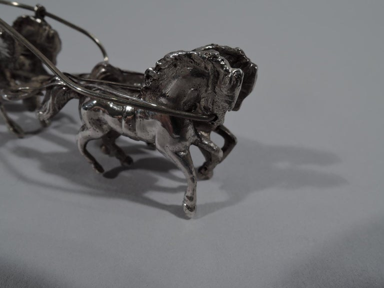 Antique German Rococo Revival Sterling Silver Miniature Coach and Six In Good Condition For Sale In New York, NY