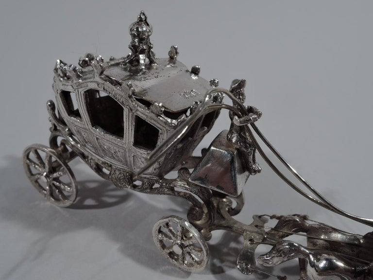 Women's or Men's Antique German Rococo Revival Sterling Silver Miniature Coach and Six For Sale