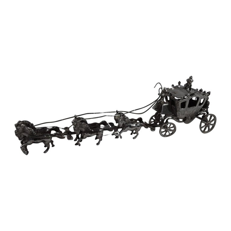 Antique German Rococo Revival Sterling Silver Miniature Coach and Six For Sale