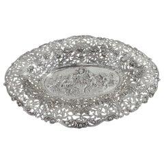 Antique German Rococo Silver Bread Tray