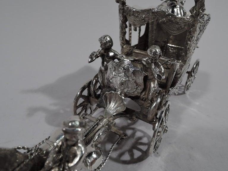 Women's or Men's Antique German Rococo Silver Horse-Drawn Cinderella Coach For Sale