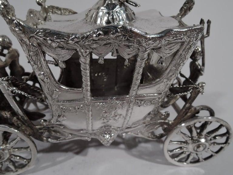 Antique German Rococo Silver Horse-Drawn Cinderella Coach For Sale 1