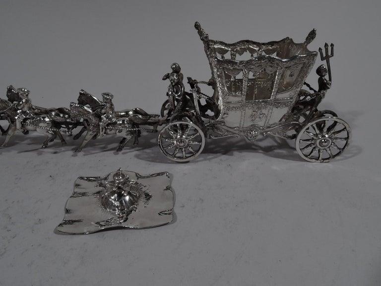 Antique German Rococo Silver Horse-Drawn Cinderella Coach For Sale 3