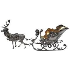 Antique German Rococo Silver Reindeer-Harnessed Sleigh