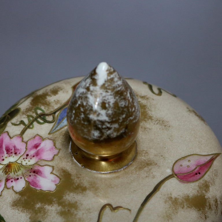 Antique German Royal Bonn Hand Painted and Gilt Floral Floor Urn, 19th Century For Sale 9