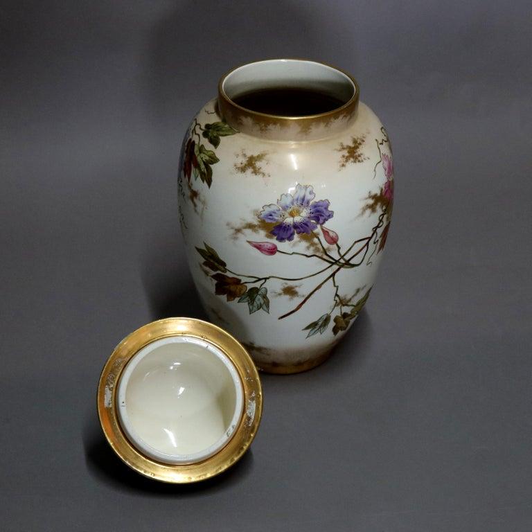 Porcelain Antique German Royal Bonn Hand Painted and Gilt Floral Floor Urn, 19th Century For Sale