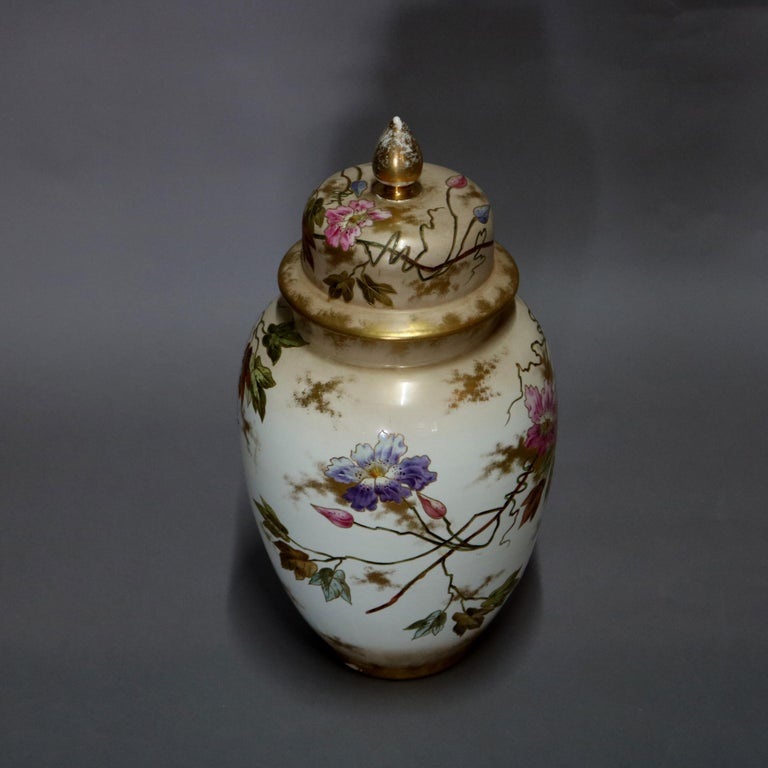 Antique German Royal Bonn Hand Painted and Gilt Floral Floor Urn, 19th Century For Sale 2