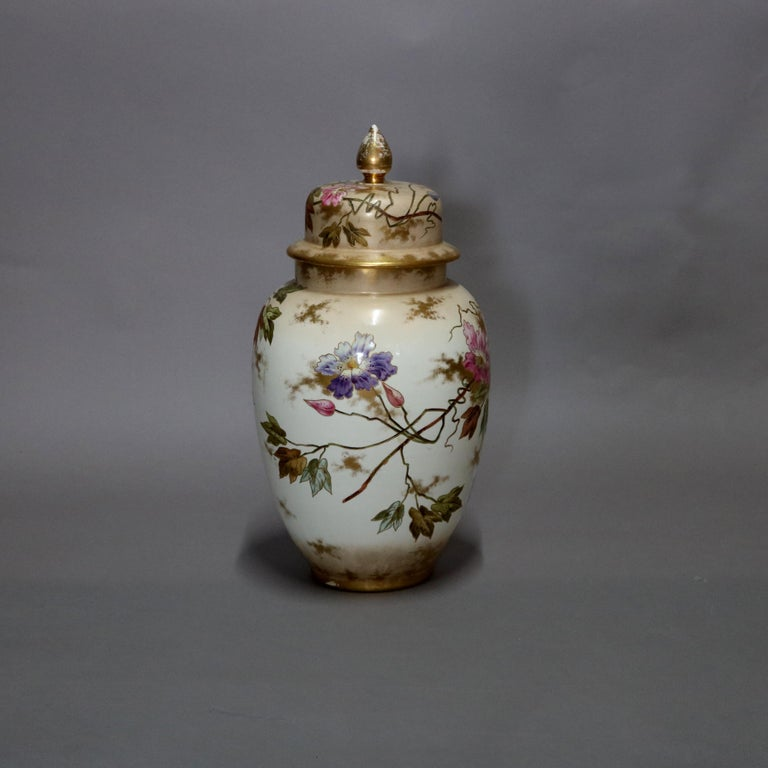 Antique German Royal Bonn Hand Painted and Gilt Floral Floor Urn, 19th Century For Sale 4