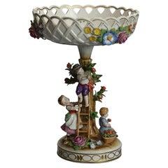 Antique German Schierholz Hand Painted & Gilt Figural Porcelain Compote, c1900