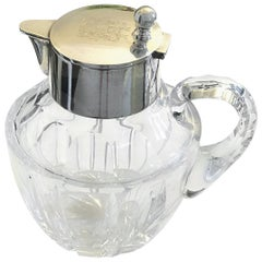 Antique German Silver And Crystal Jug / Pitcher With A Crest Sign