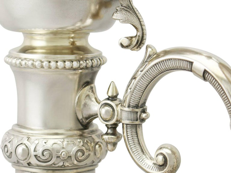 Antique German Silver and Cut-Glass Claret Jug For Sale 6
