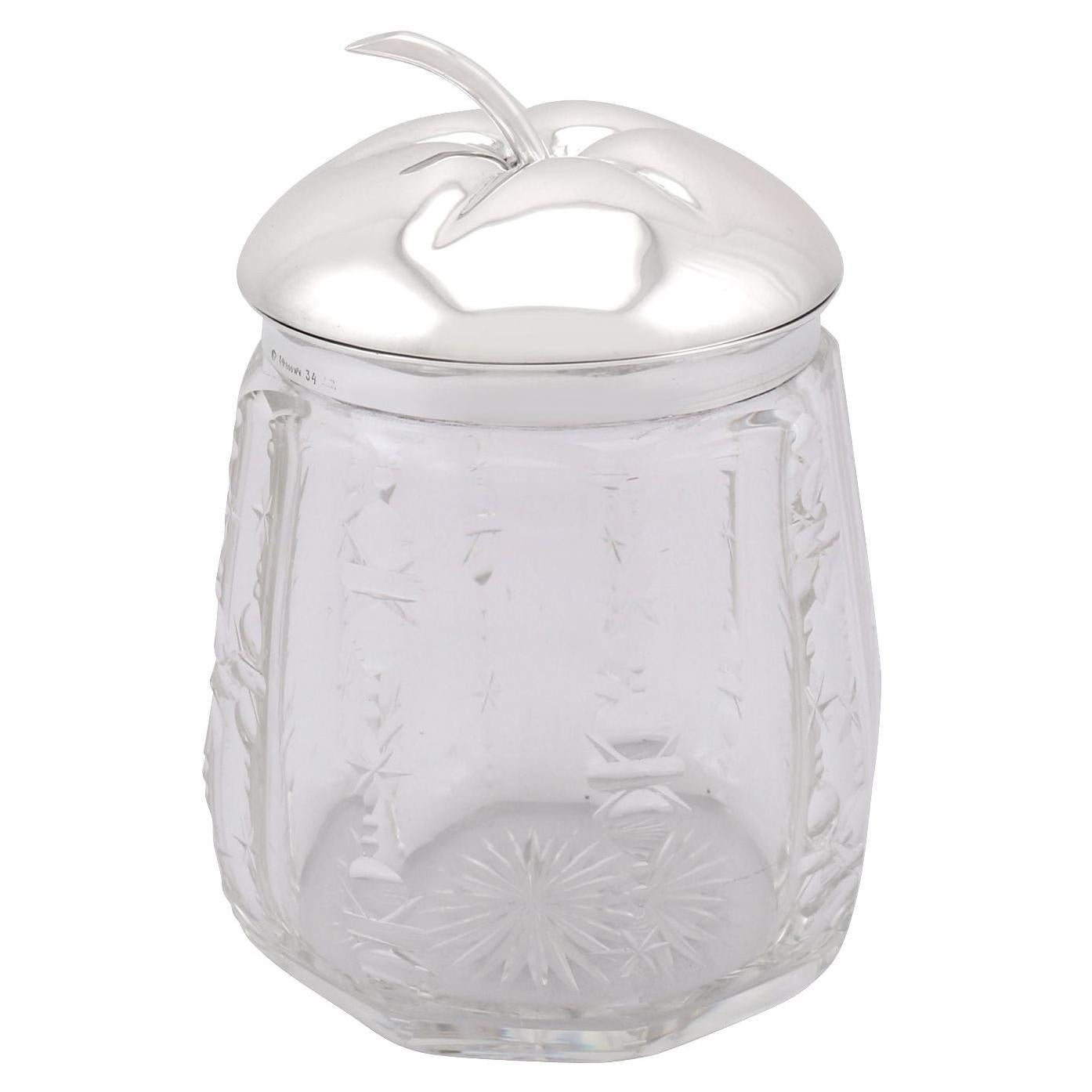 Antique German Silver and Cut Glass Jar, Circa 1930