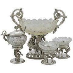 Antique German Silver and Cut Glass Table / Cruet Set