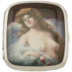 Antique German Silver and Erotica Enamel Cigarette Case