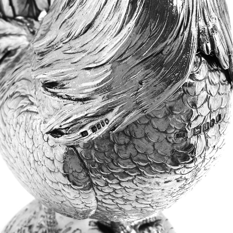 Antique German Silver Cockerel / Rooster Model Figure on Base 1899 'Import Mark' For Sale 6
