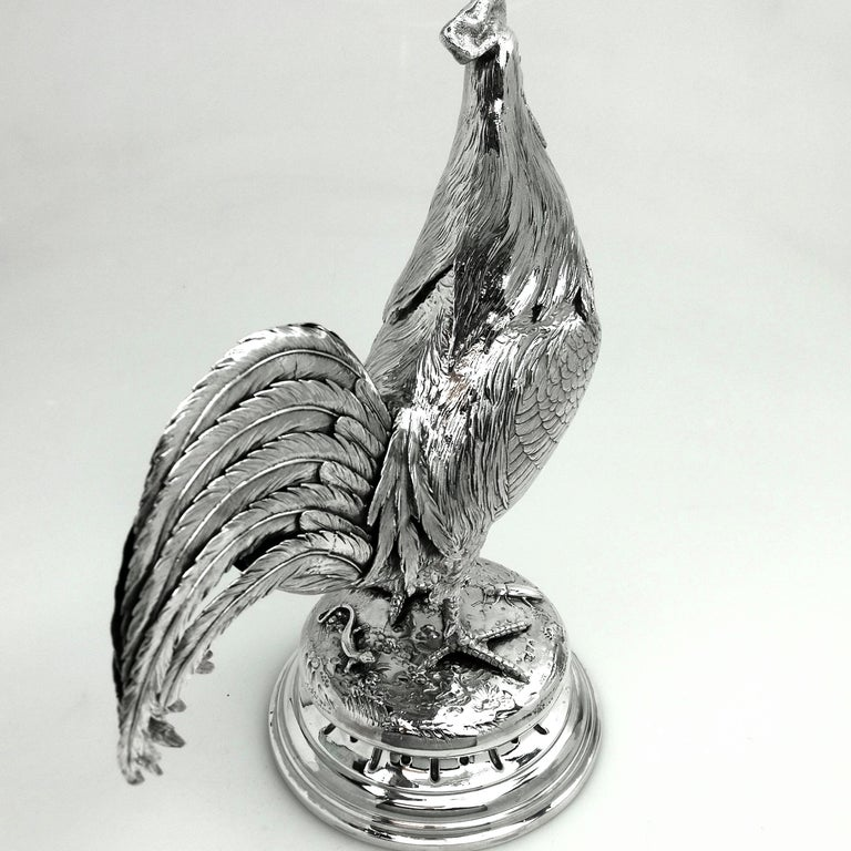 19th Century Antique German Silver Cockerel / Rooster Model Figure on Base 1899 'Import Mark' For Sale