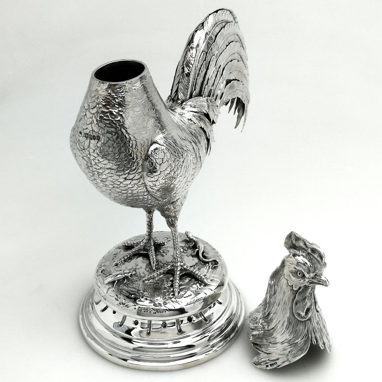 Sterling Silver Antique German Silver Cockerel / Rooster Model Figure on Base 1899 'Import Mark' For Sale