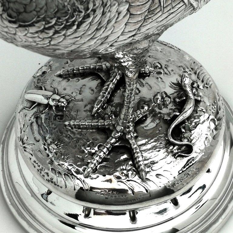 Antique German Silver Cockerel / Rooster Model Figure on Base 1899 'Import Mark' For Sale 3