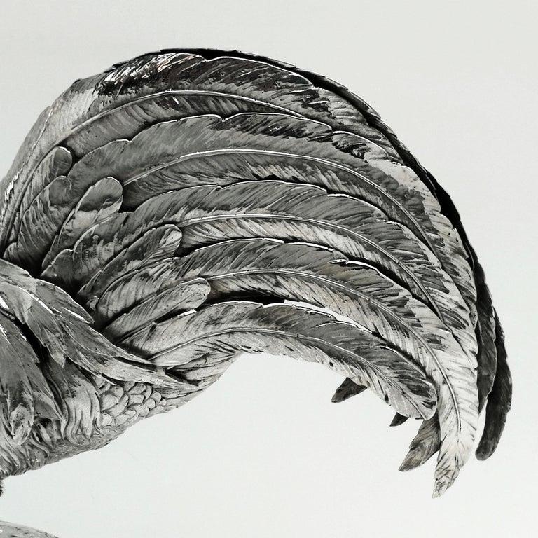 Antique German Silver Cockerel / Rooster Model Figure on Base 1899 'Import Mark' For Sale 4